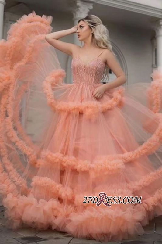 Spaghetti-strap A-line Beading Sequin Prom Dress