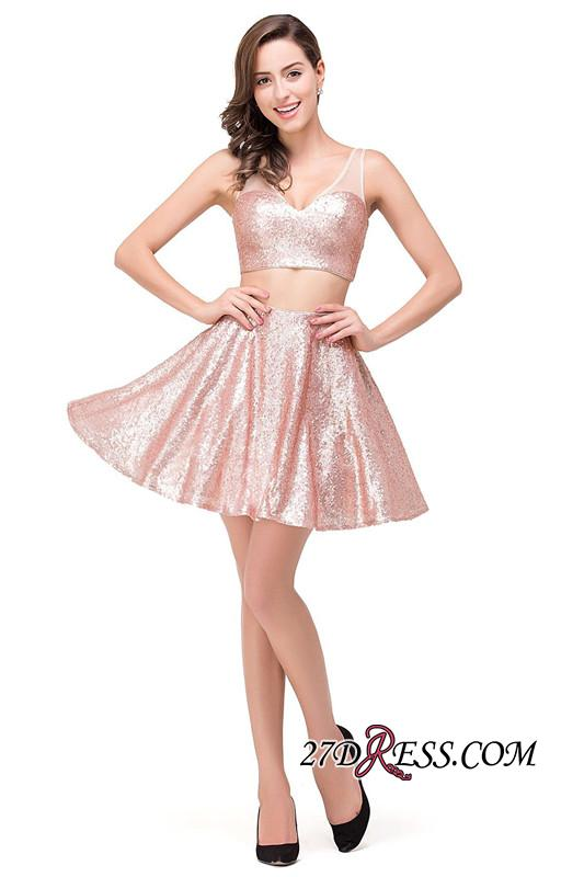 2020 Sexy Sequined Lace-Up Two-Pieces Mini Homecoming Dress