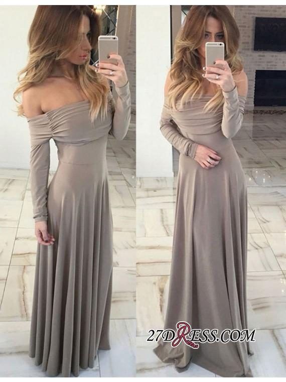Green Off-the-shoulder Gorgeous Long-Sleeve Long 2020 Prom Dress BA7212