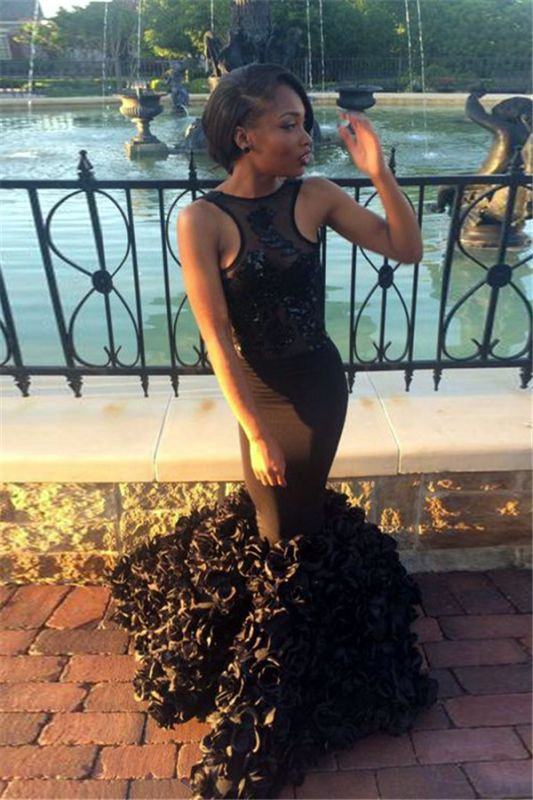 Sexy Black Sleeveless Mermaid 2020 Prom Dress Floor Length Flowers Party Gowns BK0