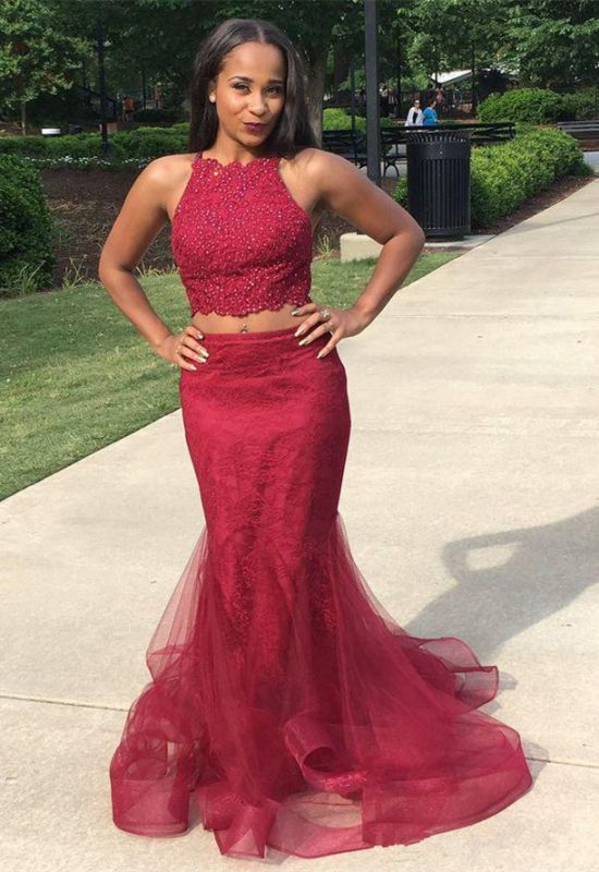 Two-Piece Burgundy Prom Dress | 2020 Lace Evening Gowns
