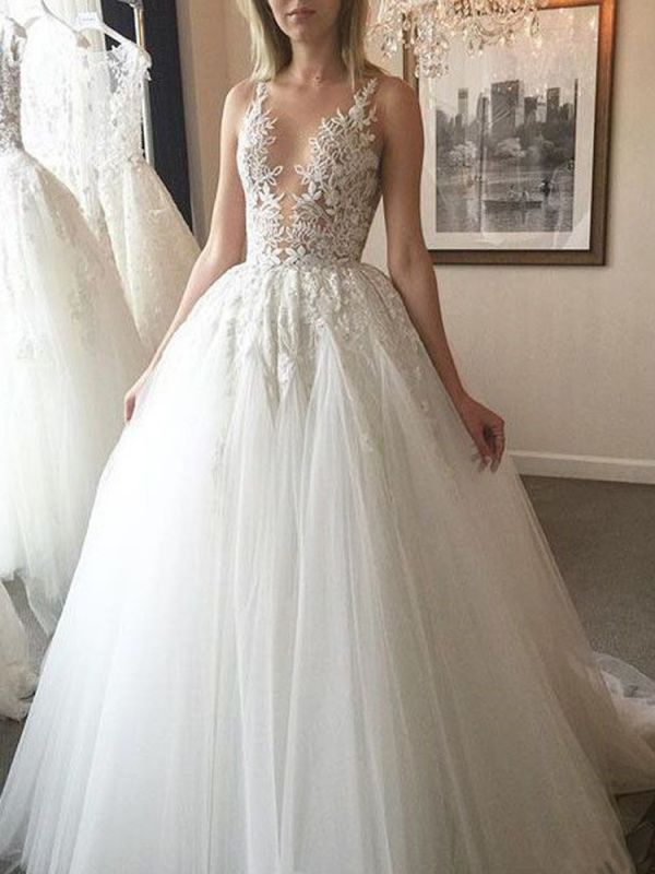 Charming Sleeveless Lace Wedding Dress | 2020 Tulle Bridal Gowns On Sale