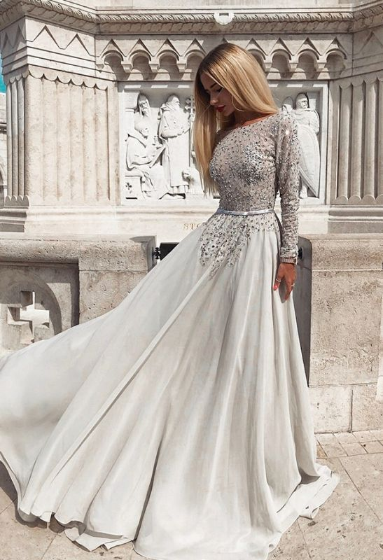 Glamorous Crew 2020 Long Sleeves Tulle Prom Gown   2020 A-Line Beadings Backless Evening Dress
