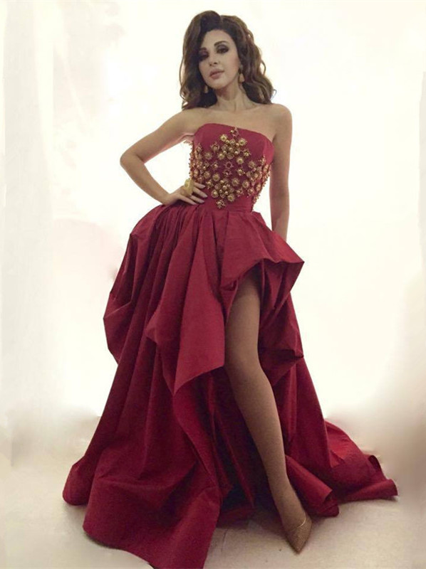 Glamorous Strapless 2020 Evening Dress Long Gold Beads Long Party Dress With Split BA8044