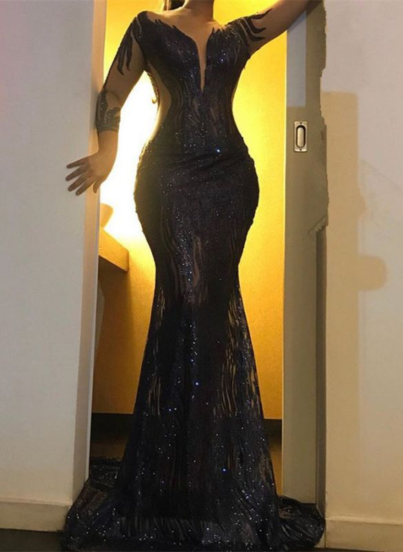 Sexy Black Sequins Prom Gowns   2020 Mermaid Long Sleeve Evening Dresses