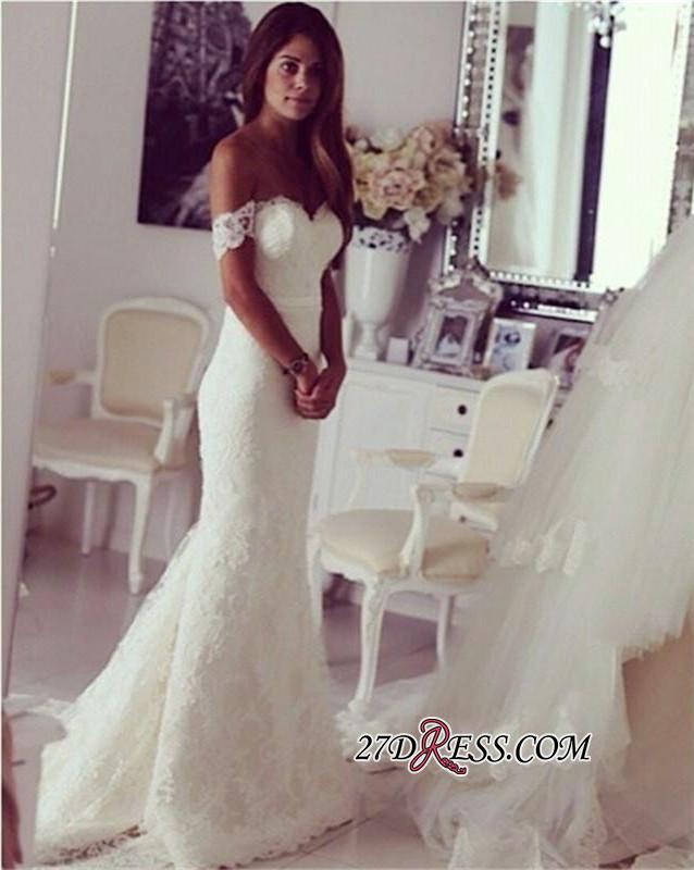 2020 Modest Lace Sweep-Train Off-the-shoulder Mermaid Wedding Dress