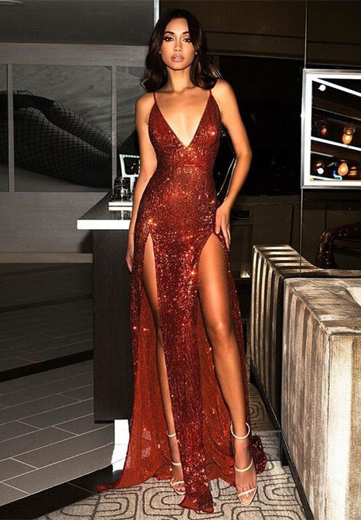 Sexy Red Sequins V-Neck Prom Dress | 2020 Long Evening Gowns With Slit BC0466