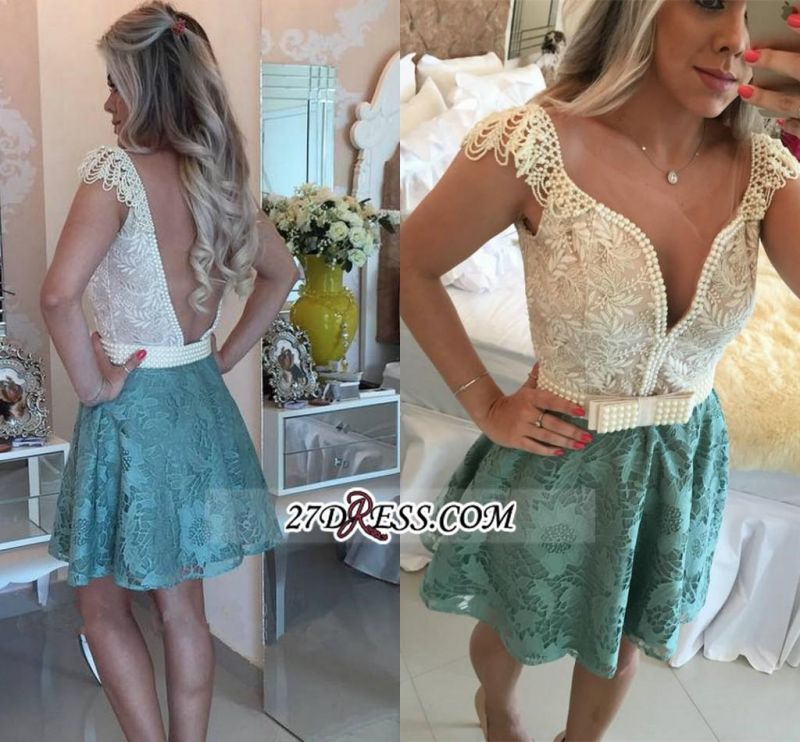 Backless Short Cap-Sleeves A-Line Beaded Lace Homecoming Dresses