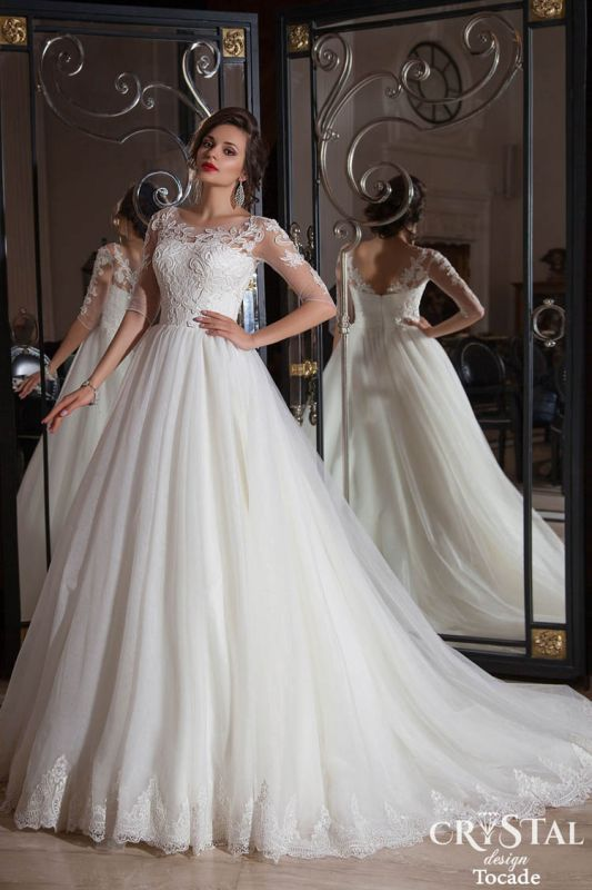 Elegant Illusion Half-sleeve Tulle Wedding Dress With Lace Appliques