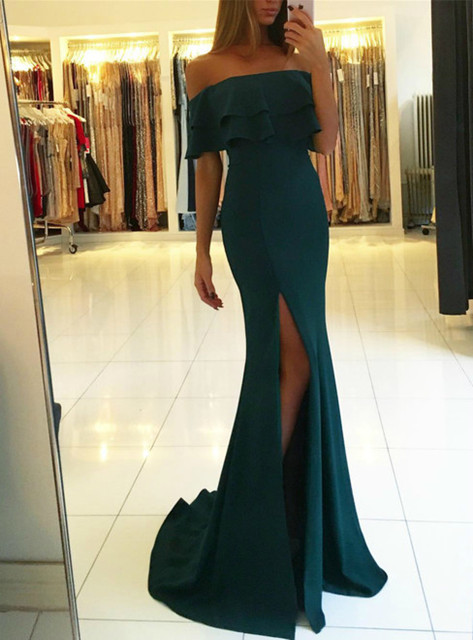 Green off the shoulder prom dress with split,green evening gowns
