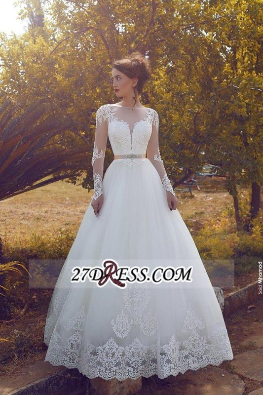 Appliques Long A-line Glamorous Tulle Sleeves Wedding Dress