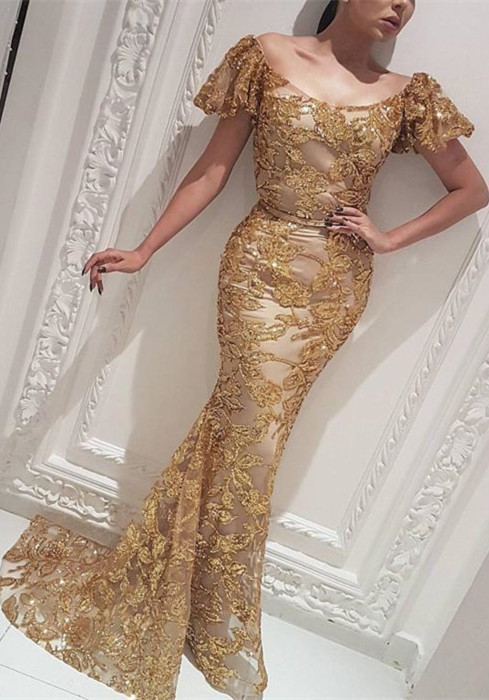 Gorgeous Off-the-Shoulder Gold Evening Dress | 2020 Mermaid Long Prom Gowns