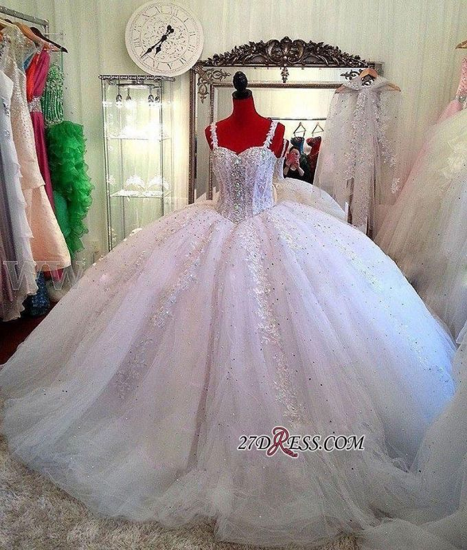 Luxurious Beading Puffy Straps Sparkly Lace Ball-Gown Ceystals Wedding Dress BC0725