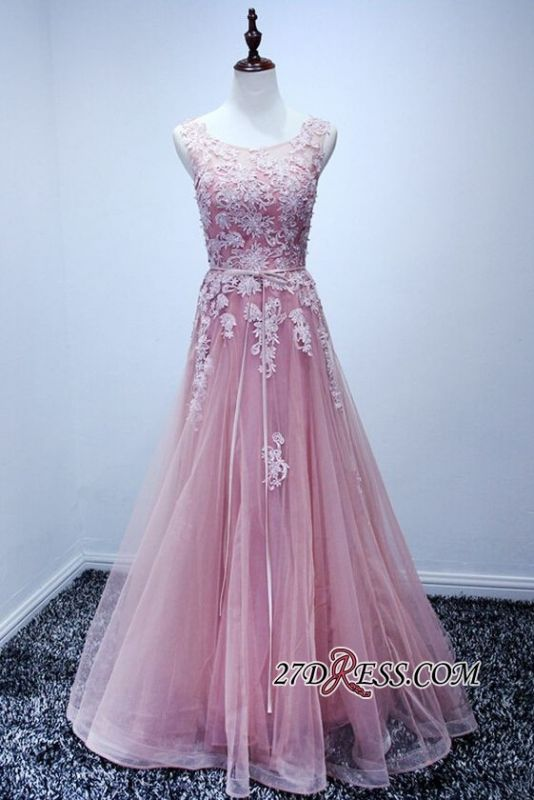 Lace Floor-Length A-Line Gorgeous High-Neck Pink Prom Dresses