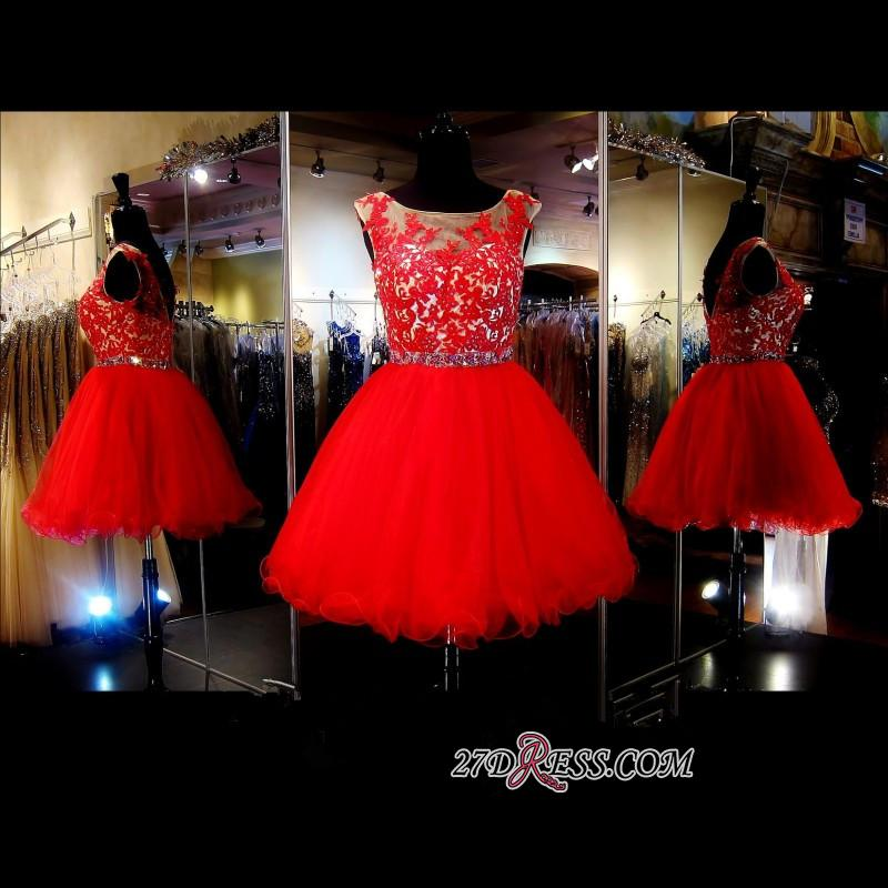 A-Line Red Appliques Tulle Short Sleeveless Mini Homecoming Dress
