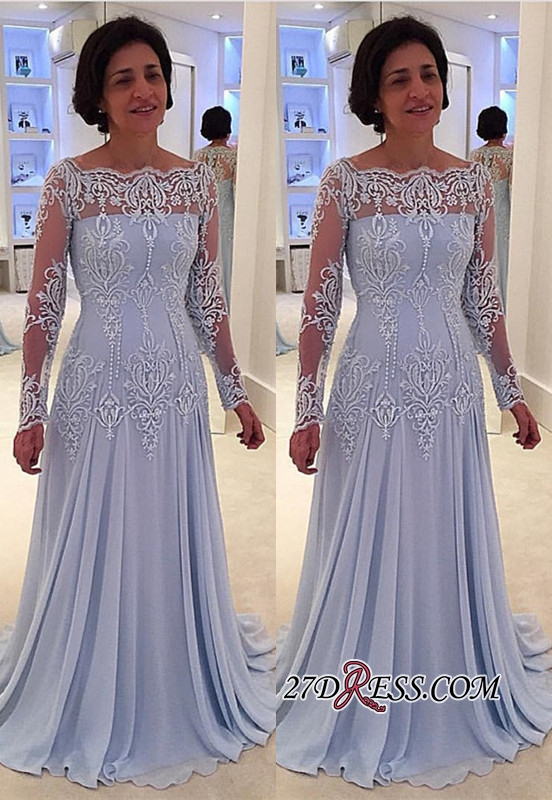 Long-Sleeve Lace A-line Elegant Mother-the-bride Dress