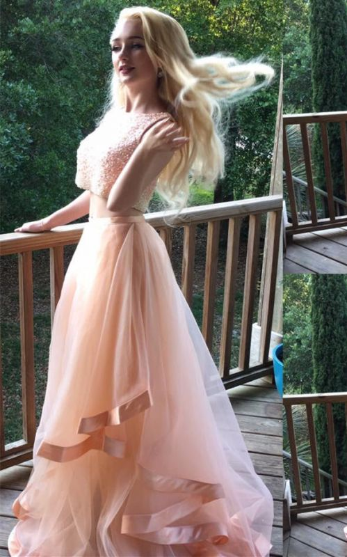 Gorgeous Two Pieces Beads 2020 Prom Dress Tulle Ruffles Romantic