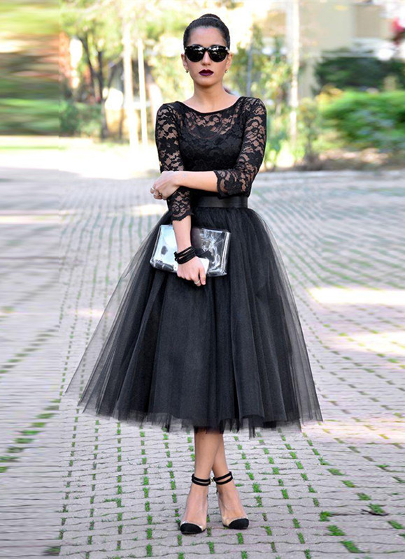 Sexy Black Lace 3/4 Sleeve Prom Dresses 2020 Tulle Tea-Length