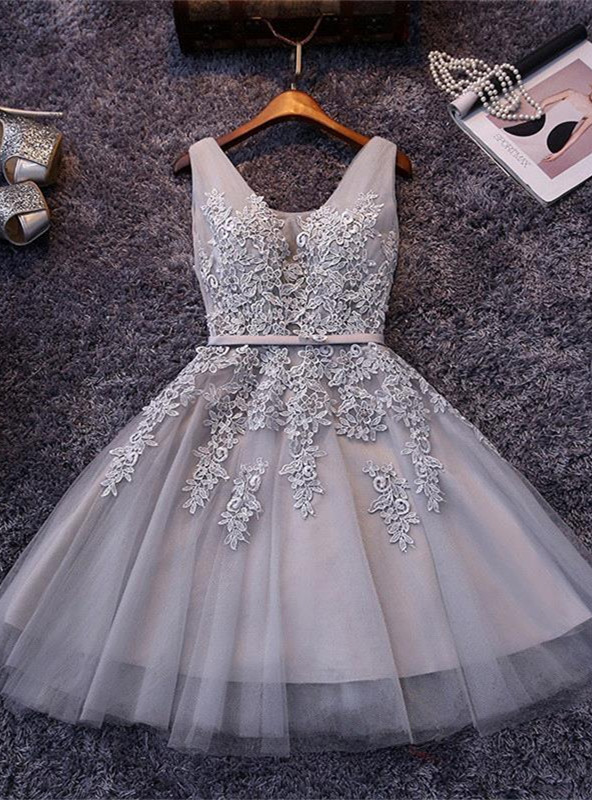Beautiful Sleeveless lace-up Short homecoming Dress 2020 Lace Appliques Tulle BA3782