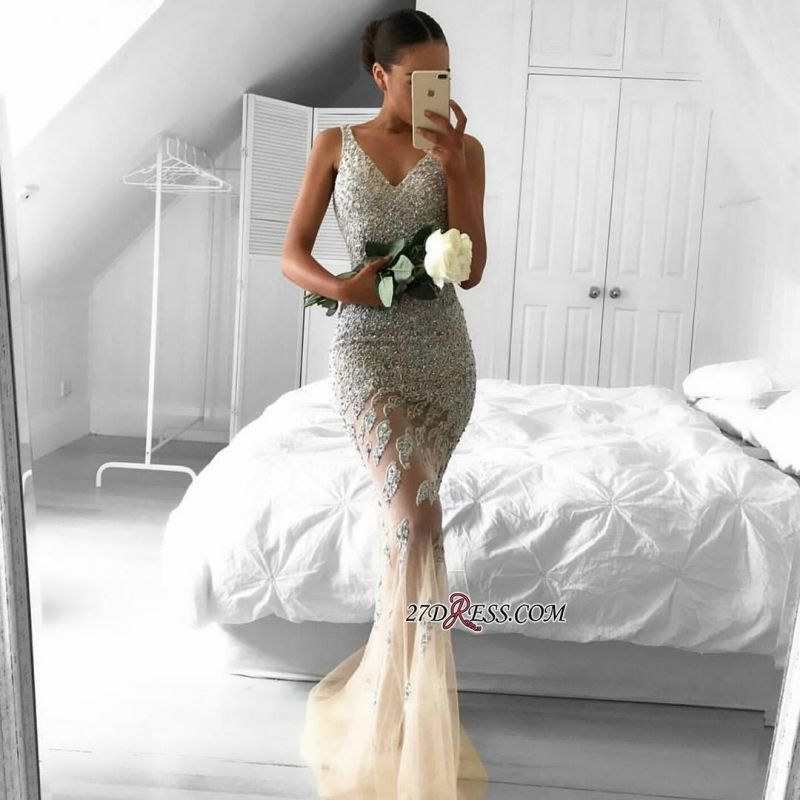 2020 Lace-Appliques Beads Sleeveless Straps Tulle Gorgeous Mermaid Evening Dress BA6959