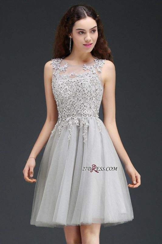 Silver Tulle Short A-Line Sleeveless Appliques Homecoming Dress