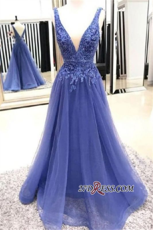 V-neck A-line Fascinating Appliques Lace Prom Dresses