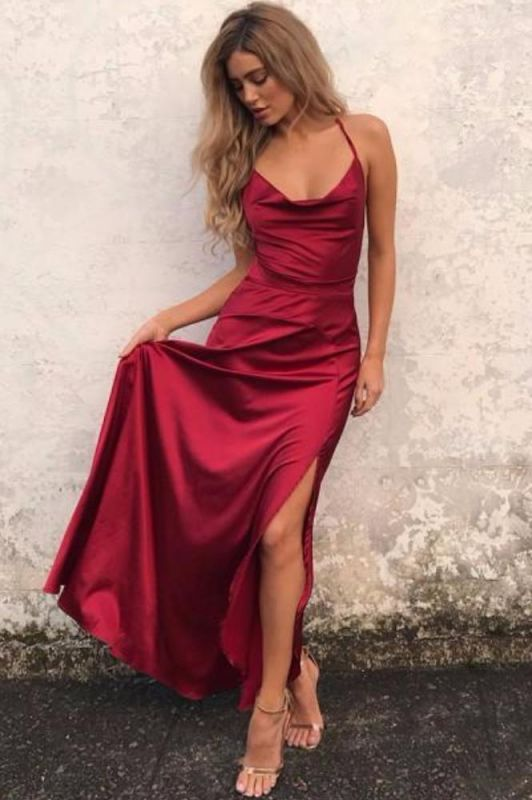 Sexy Red Sleeveless Spaghetti Strap 2020 Prom Dress Front Split Long Backless