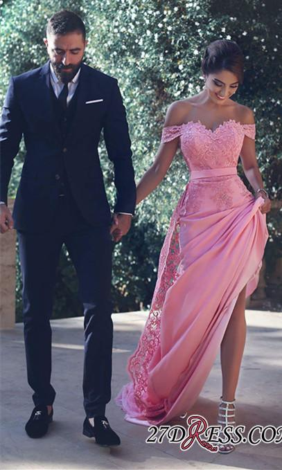 Off-the-Shoulder Lace Lace Long Natural A-Line Candy-Pink Prom Dresses BA3857