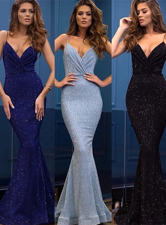 Sexy Spaghetti-Straps Sequins Evening Gowns | 2020 Mermaid Long Prom Dress