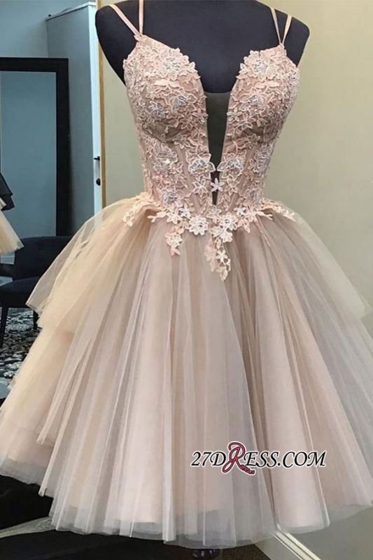 A-line Applique Spaghetti-straps Short Homecoming Dresses