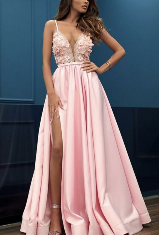 Charming Pink Spaghetti Strap Sleeveless Floor-Length Prom Dress | Lace Appliques Front Split Evening Gown BC0984