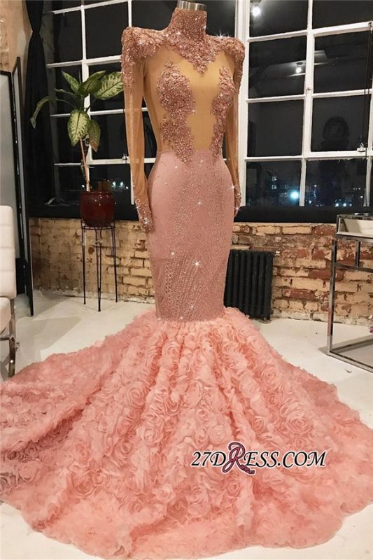New Arrival High Neck Flower Appliques Formal Dresses   Pink Long Sleeves Mermaid Evening Dresses BC1875