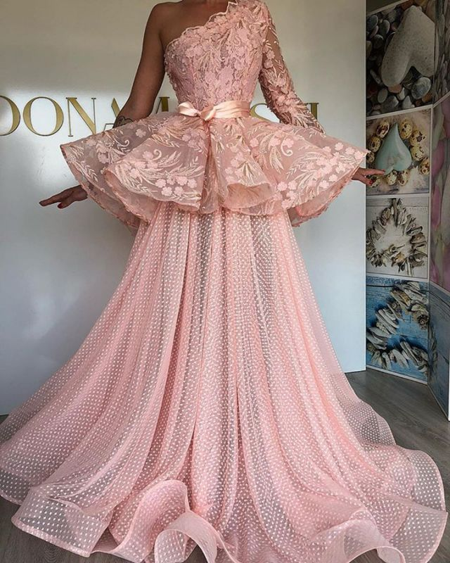 Glamorous Pink Lace Prom Dresses | 2020 Long Sleeve Evening Gowns