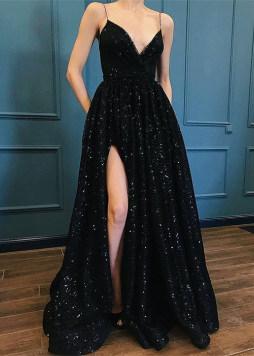 Sexy Black Sequins Prom Dresses | 2020 Spaghetti-Straps Long Evening Gowns BC1252