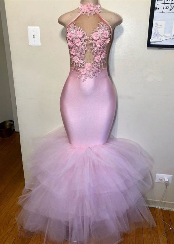 Elegant Halter Pink Mermaid Prom Dresses | 2020 Tulle Evening Gowns With Flowers