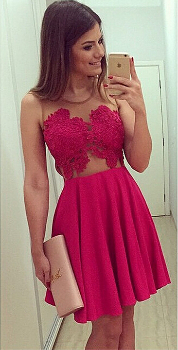 Sexy Sleeveless Short Chiffon Homecoming Dress With Lace Appliques BA1561