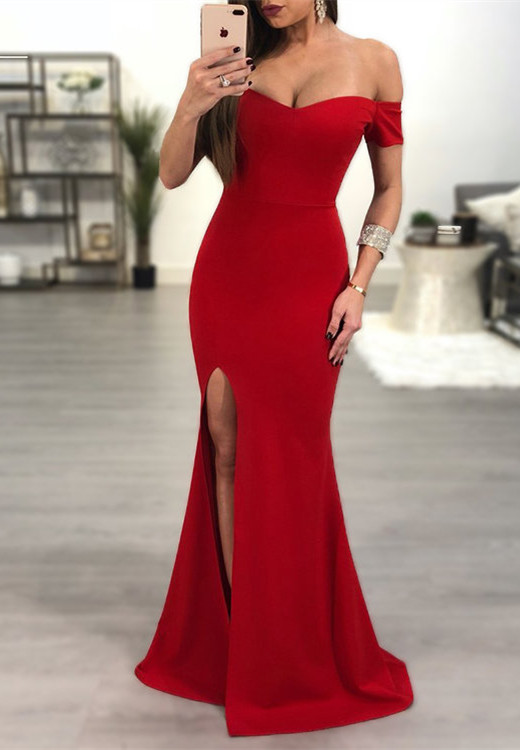 Elegant Red Off-the-Shoulder Prom Dress   2020 Mermaid Sweetheart Evening Gowns