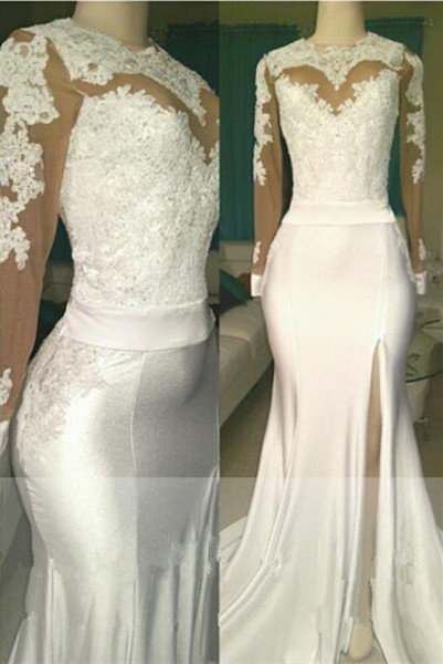 White lace long sleeve prom dress, 2020 evening dress with slit