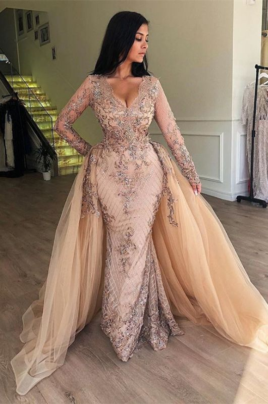 Chic V-Neck Long Sleeve Evening Dresses   2020 Mermaid Ruffles Appliques Prom Gowns BC0179