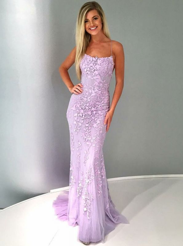 Sexy Spagetti Straps Sleeveless Evening Gowns | Long mermaid Criss Cross Strings Prom Dress BC1391