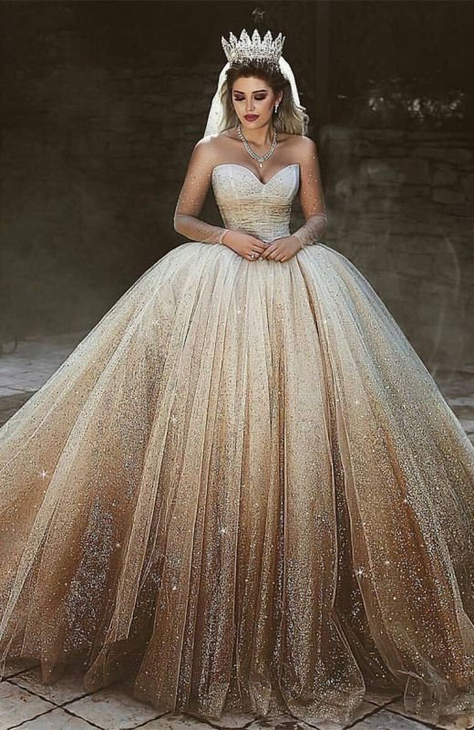 Luxurious Sweetheart Long Sleeve Wedding Dresses | 2020 Ball Gown Sequins Tulle Bridal Wears