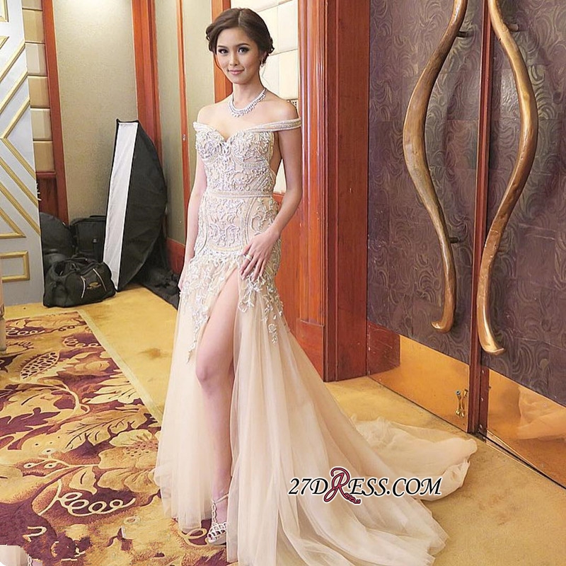 Mermaid Sweep-Train Off-the-shoulder Delicate Front-Split Prom Dress