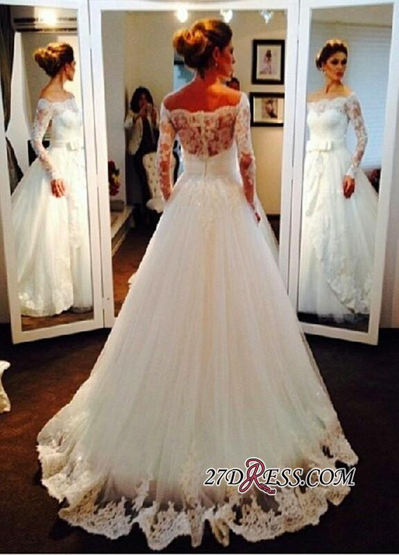 Long-Sleeve Tulle Off-the-shoulder Lace Bow Elegant Wedding Dress