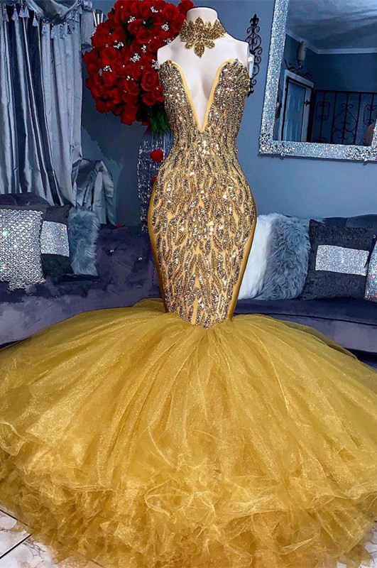 Stunning Yellow Crystal Prom Dresses | 2020 Mermaid Tulle Long Evening Party Dress BC1626