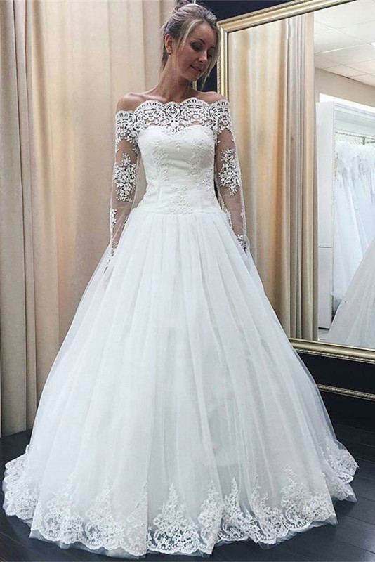 Chic Off-the-Shoulder Long Sleeve 2020 Wedding Dress Tulle Lace Bridal Gowns