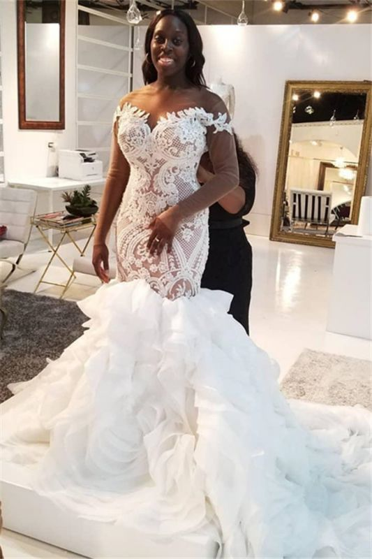 Mermaid Lace Appliques Tulle Wedding Dress Delicate Bridal Gowns