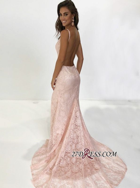 Sexy Pink Lace Mermaid Prom Dresses | Spaghetti-Straps Backless Evening Gowns BC1700