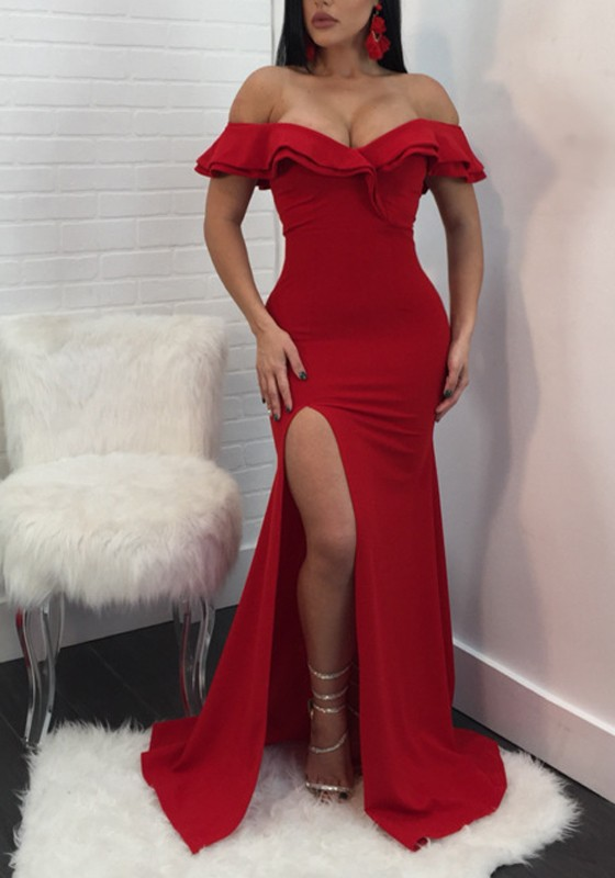 Red Off-the-Shoulder Mermaid Evening Dresses | 2020 Long Prom Gowns With Slit