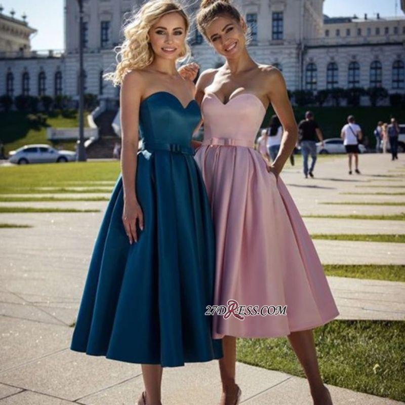 Strapless A-line Sweetheart Bow Belted Marvelous Prom Dresses