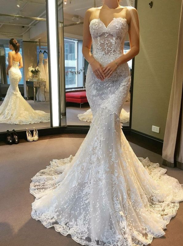 Gorgeous Sweetheart 2020 Wedding Dress | Lace Mermaid Bridal Gowns